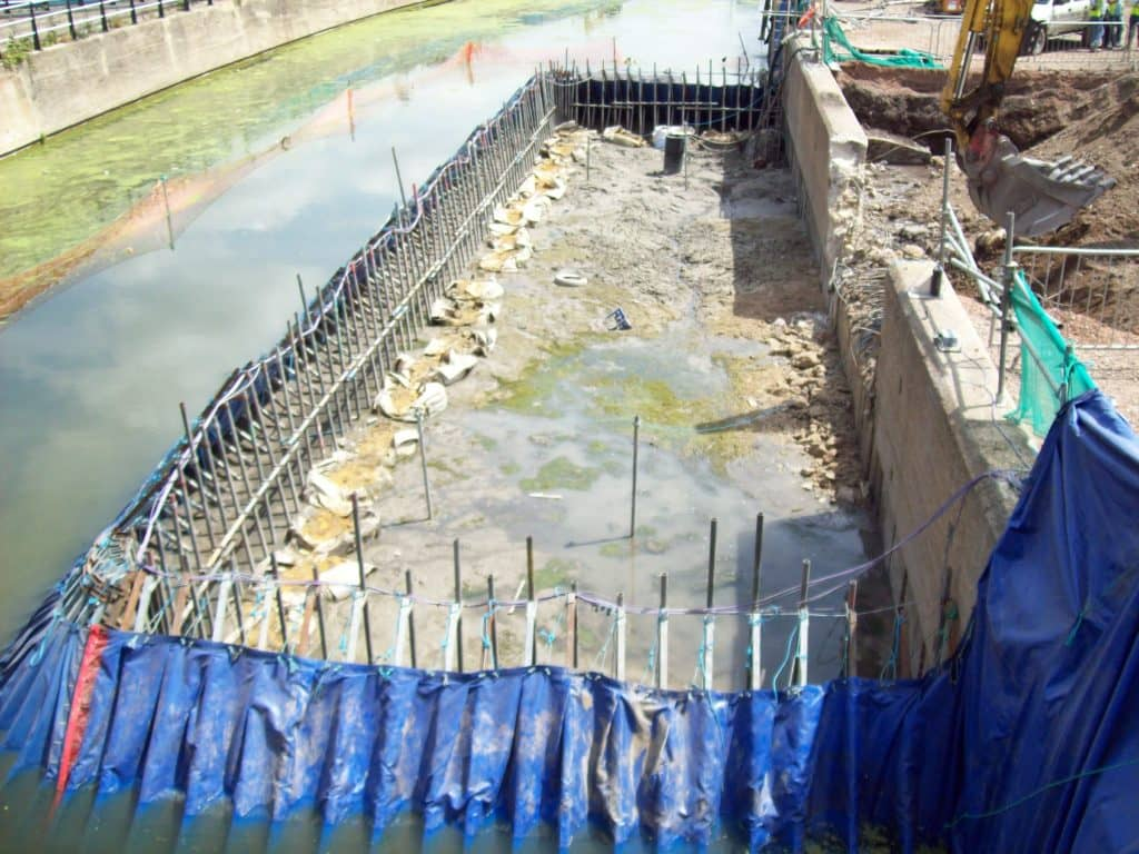 Portadam Temporary Dam System Being Used To Allow A