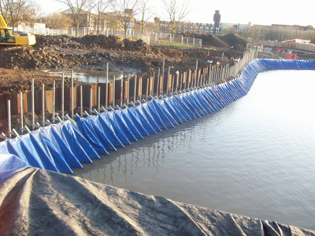 Portadam Tempoary Dam System Being Used For Bank Work In A